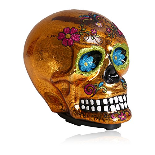 SMYER Halloween Skull Decoration,Led Grinning Replica Human Skull Statue-Scary Ghost Skeleton Skull for Home & Outdoor Decor (Golden)