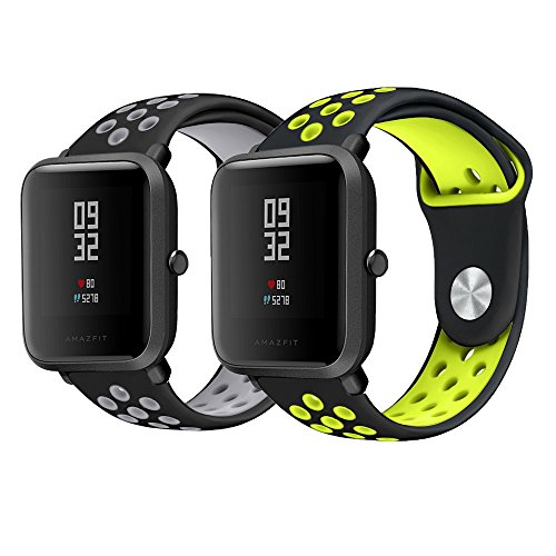 for Xiaomi Amazfit Bip Band, Lamshaw Silicone Soft Band with Ventilation Holes Replacement Straps for Xiaomi Huami Amazfit Bip Younth Watch (2 Pack-1)