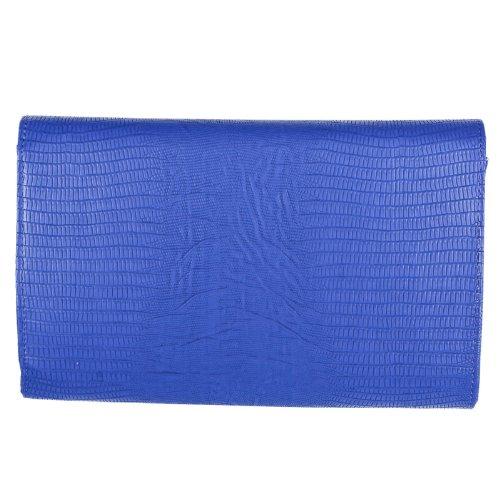 Señoras De Impreso Animal Handbags Tarde Metal Girly Embrague Marrón Del Piso Negro Azul Bolso Sobre xWvnng
