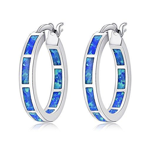 CiNily Blue Fire Opal Women Jewelry Fashion Gemstone Rhodium Plated Hoop Earrings 7/8