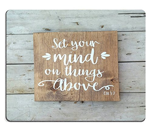 Wknoon Gaming Mouse Pad Custom, Bible verse Wood signs sayings wall art Scripture Faith sign,Personalized Design Non-Slip Rubber Mousepad