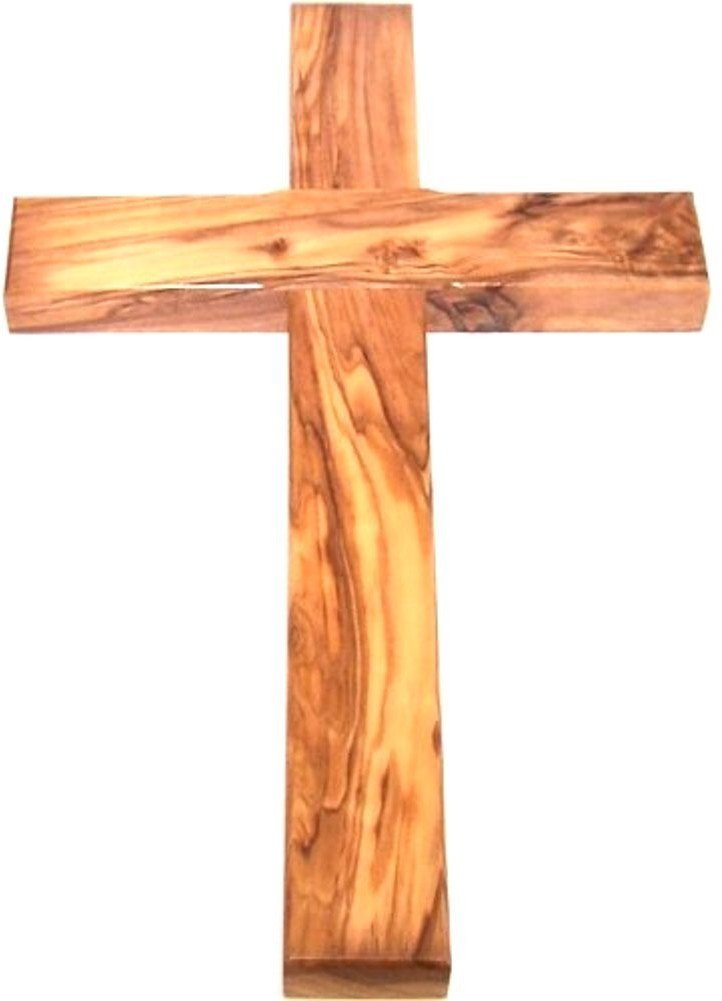 Olive wood Cross from Bethlehem with a Certificate and Lord prayer card - 10 Inches