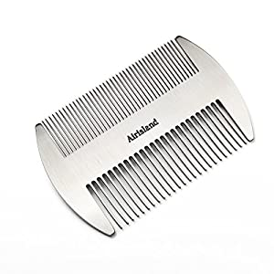 Airisland Stainless Steel EDC Credit Card Size Comb Wallet Comb Pocket Comb Anti-Static Hair Comb Bread Mustache Comb