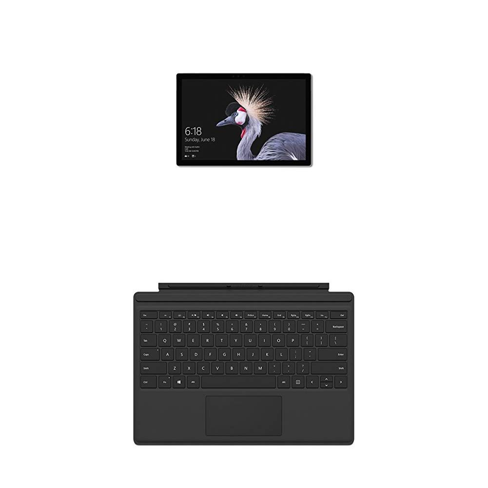 Microsoft Surface Pro - Ordenador portátil 2 en 1, 12.3'' (Intel Core i5-7300U, 8GB RAM, 256GB SSD, Intel Graphics, Windows 10 Pro) Plata + Funda con teclado, Negra - QWERTY Español
