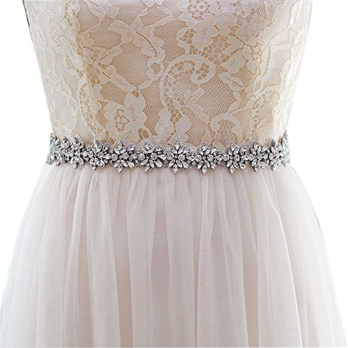 Top Queen Women's Crystal Diamond Bridal Belt Sashes Wedding Belts Sash for Wedding (Royal Blue)