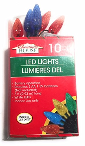 Holiday Indoor Battery-Operated Strands of Multi Colored Faceted White LED Lights, 3 - Ct Macys