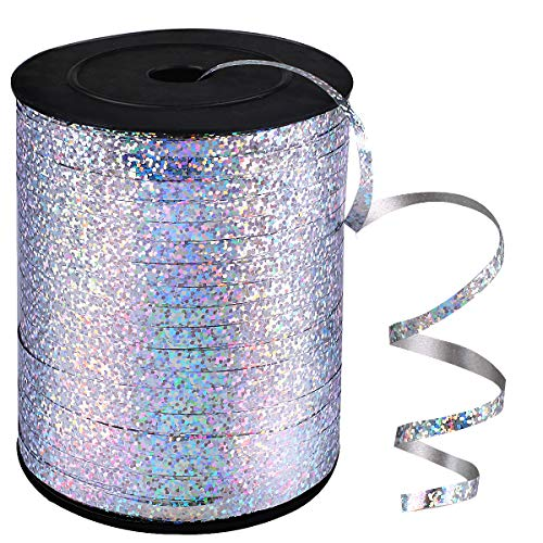 ANDRIMAX 500 Yards Shiny Balloon Ribbons for Parties, Florist,Crafts and Gift Wrapping (Silver)