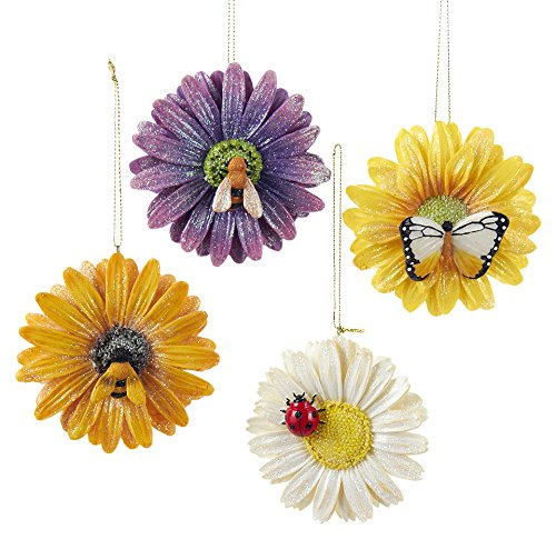 Kurt Adler Daisy with Insect Ornaments, Set of 4