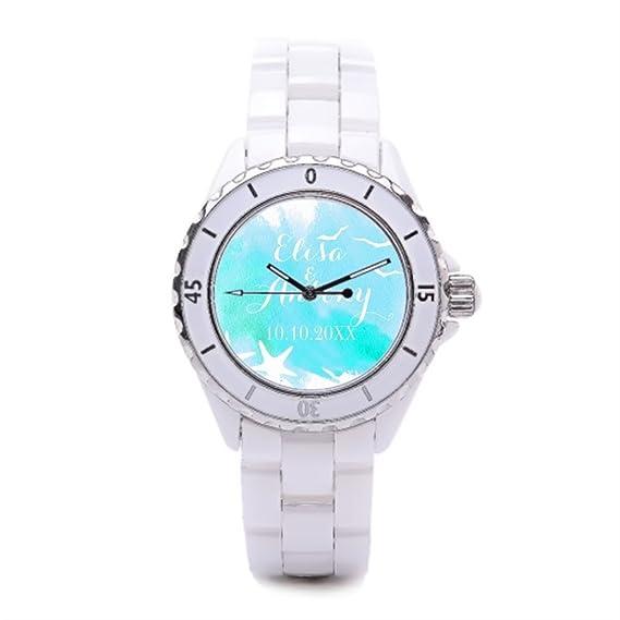 Watercolor Ceramica relojes baratos Relojes de pulsera. De boda, playa boda lujo relojes Marcas: Amazon.es: Relojes