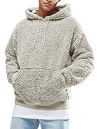 Mens Fuzzy Sherpa Pullover Hoodie Sweatshirts Long Sleeve Jackets Front Pocket Fall Outwear Winter Hooded