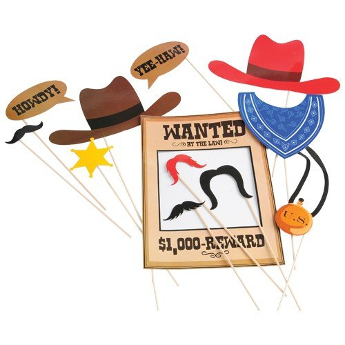 Cowboy Photo Booth Props (Western Party Decorations)