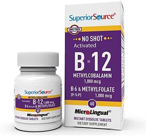 Superior Source No Shot Vitamin B12 Methylcobalamin 1000 mcg Sublingual - B6 - Methyl Folate - Instant Dissolve Tablets - Methyl B12 Supplement 60 Count