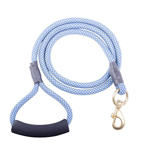 Rock Climbing Rope Dog Leash with Heavy Duty Brass Dog Collar attachment and comfortable padded handle 5 foot length (Aqua/Yellow)