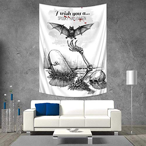 Anhuthree Halloween Wall Tapestry Dead Skull Skeleton Out of The Grave and Flying Bat Hand Drawn Spooky Picture Home Decorations for Living Room Bedroom 54W x 84L INCH Black White for $<!--$47.70-->