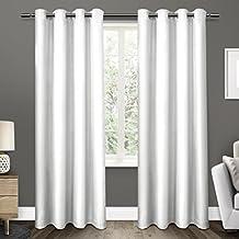 Exclusive Home Curtains Eglinton Woven Blackout Grommet Top Window Curtain Panel Pair, Winter White, 52x84