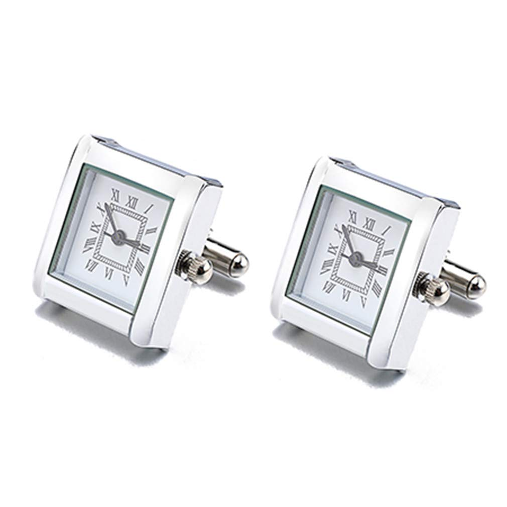 SDKGIsmga Functional Watch Cufflinks Square Real Clock Cuff Links with Battery Digital Watch Cufflink Cuffs White Color