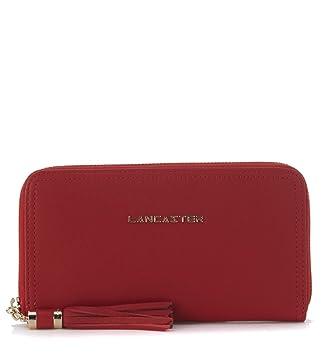 Portefeuille Lancaster MADEMOISELLE ANA en peau grainée rouge ... f39c85cbec3
