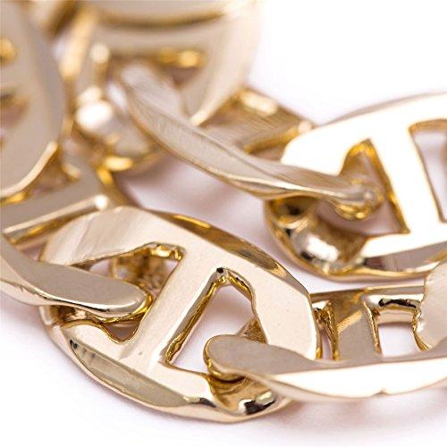 Bling King Men's 14K Gold Plated 12mm Heavy Bling Anchor Marine 8 Inches Hip Hop Bracelet 14k Marine Bracelet