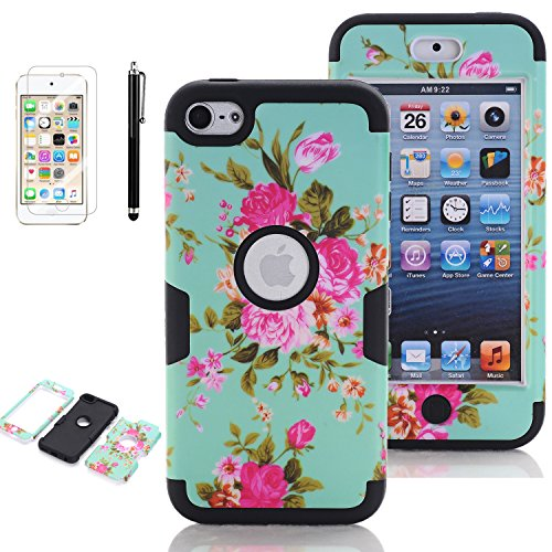 ation Case, iPod Touch 6 Cases for Girls, VODICO 3 Layer Impact Resistant Hybrid Soft Silicone Hard Plastic Protective Case Cover with Screen Protector+Stylus (Flower Mint Black) ()