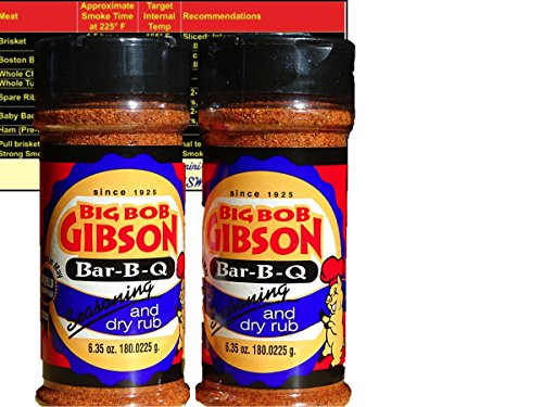 Big Bob Gibson Bar-B-Que BBQ Seasoning Dry Rub 6.35 oz (Two Bottles) with Complimentary Miniature Meat Smoking Guide Magnet (Gibsons Seasoning)