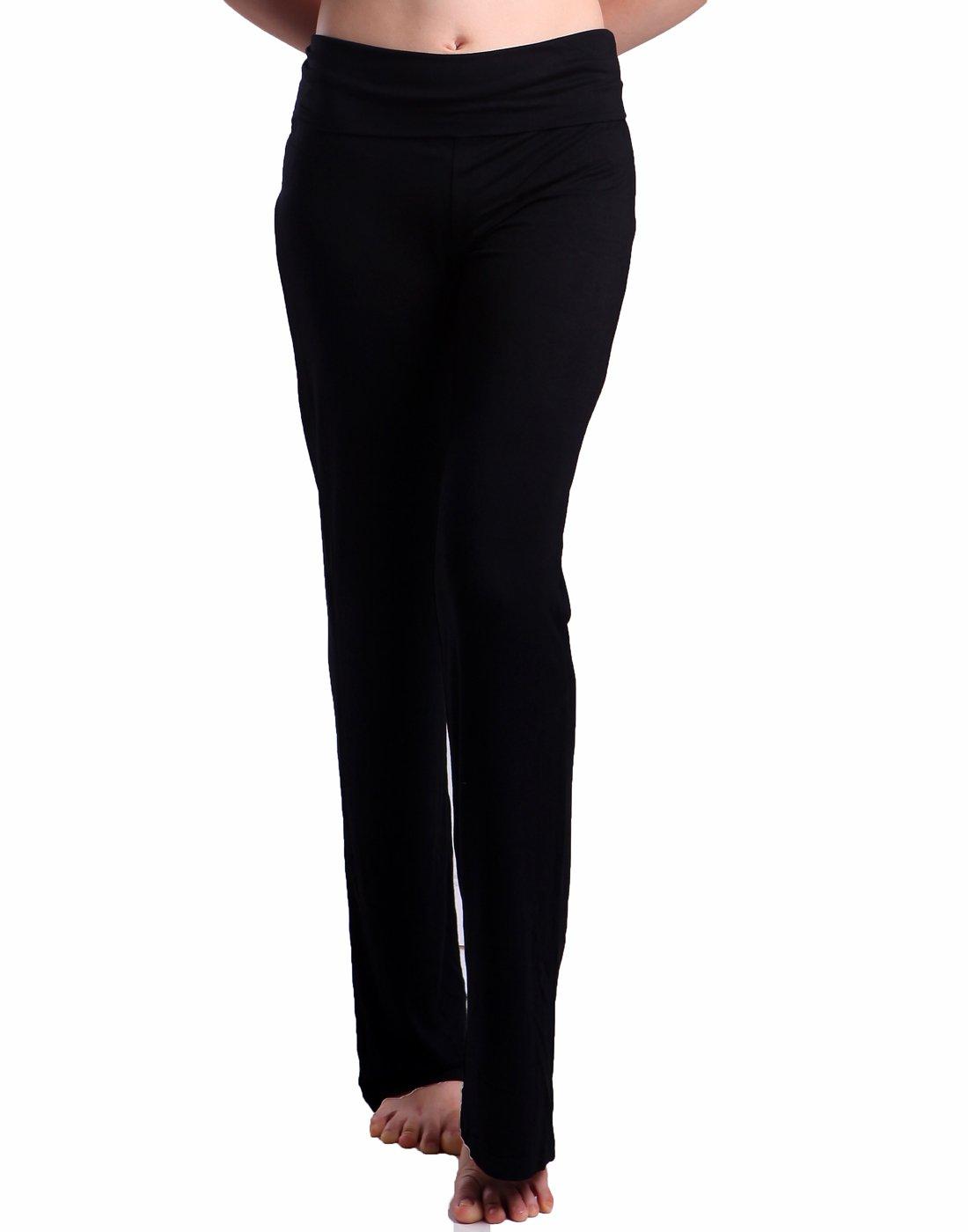HDE Foldover Athletic Yoga Pants Gym Workout Leggings (Black, X-Large)
