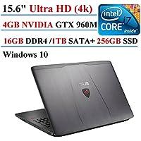 ASUS ROG GL552VW 15.6 Inch Gaming Laptop, Intel Quad-Core i7-6700HQ, 2.6GHz, GeForce GTX 960M 4GB VRAM, 16GB DDR4, 1TB SATA, 256GB SSD, 4K Ultra HD , Windows 10 (ROG Metallic)
