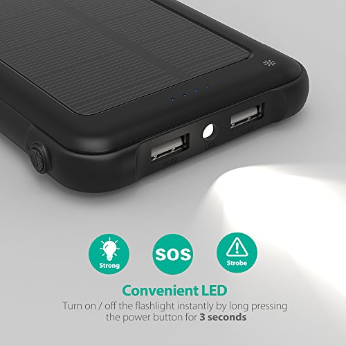 Solar Charger RAVPower 10000mAh Outdoor Battery Pack with iSmart 2.0 and Dual Input (Solar and Outlet), Shockproof Solar Power Bank with LED Flashlight for iPhone, Galaxy, Android, and More by RAVPower (Image #5)