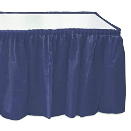 7008146da Image Unavailable. Image not available for. Color: Self Adhesive Pleated  Navy Blue Plastic Table Skirts ...