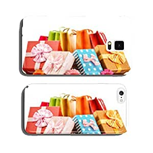 Colorful gift boxes and bags isolated on white cell phone cover case iPhone6 Plus