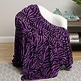 Animal Print Ultra Soft Purple Zebra Twin Size Microplush Blanket