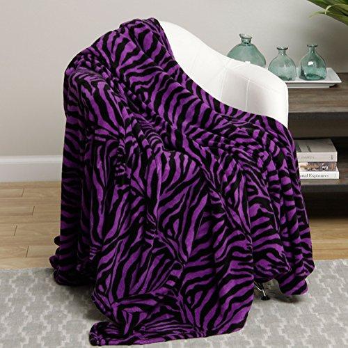 Animal Print Ultra Soft Purple Zebra Twin Size Microplush Blanket by Ben&Jonah