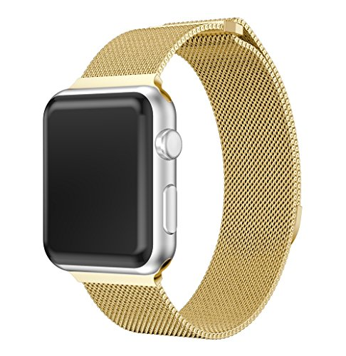 for Apple Watch Band 38MM, Fully Magnetic Closure Clasp Mesh Loop Milanese Stainless Steel Replacement Bracelet Metal Strap Wrist Band for iWatch Series 3 Series 2 Series 1 (Gold, ()