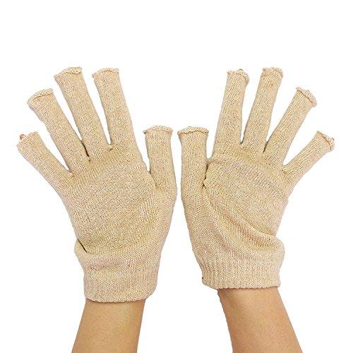 冷えとり 指なし 手袋 日本製 【841 ゆったり100% 内絹外綿 ハンドウォーマー 】