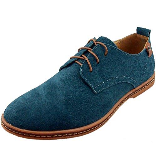 Dadawen Men's Green Leather Oxford Shoe - 9.5 D(M) - Bowling Stores Green