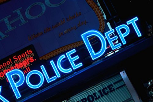 (Laminated NYPD Police Dept Midtown Times Square Precinct New York City Neon Sign Photo Art Print Poster 18x12 inch)