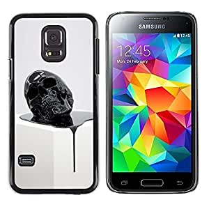 A-type Colorful Printed Hard Protective Back Case Cover Shell Skin for Samsung Galaxy S5 Mini / Samsung Galaxy S5 Mini Duos / SM-G800 !!!NOT S5 REGULAR! ( Skull Paint Black 3D Artistic Death )