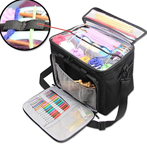 "Teamoy Knitting Bag Yarn Tote Organizer with Inner Divider Sewn to Bottom for Crochet Hooks Knitting Needlesup to 14"" Project and Supplies High Capacity Easy to CarryNo Accessories Included"