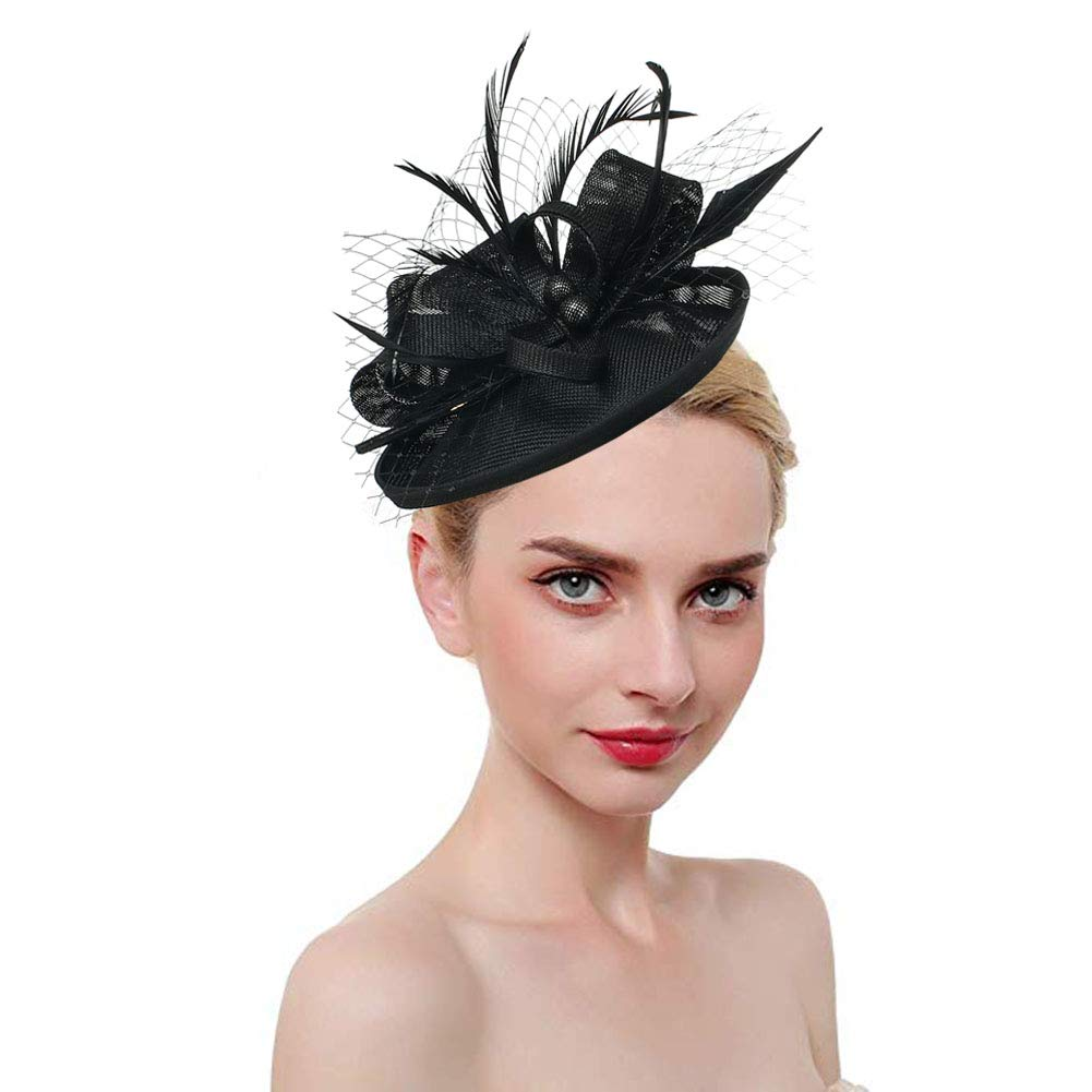 Fascinators for Women Tea Party Hat Kentucky Derby Hat and Flower Mesh Hair Clip and Headband by RongHui Crafts