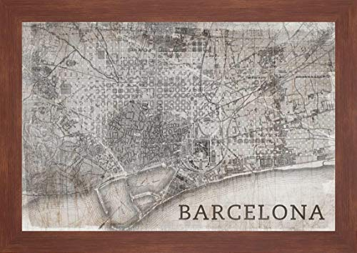 "Map Barcelona Beige by PI Studio - 20"" x 28"" Framed Giclee Canvas Art Print Walnut Finish - Ready to Hang"