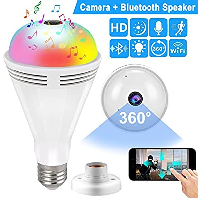 Qiwoo Bulb IP Camera Bluetooth Speaker 360 VR Panoramic Wireless WiFi Spy Hidden Camera with Night Vision Motion Detection Baby Pet Monitor Home Security Outdoor Surveillance Cam for iPhone Android