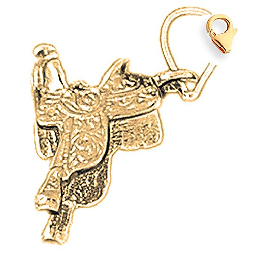 14K Yellow Gold 3D Saddle Charm - 16mm