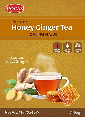 (40 Bags) Pocas Instant Ginger Honey Tea with Lemon 18g/0.63oz (Honey Ginger - Crystal Tea Ginger Honey Instant