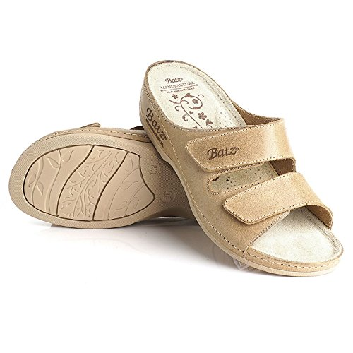 Batz FC03 Sandalias de Cuero Para Mujer Beige