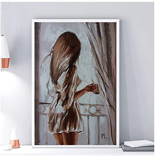 Pintura en lienzo con hermosa nina de pie en la decoracion de la ventana Pintura famosa pintura al oleo Poster Arte de la pared Imagen en casa -50x70cmx1pcs -Sin marco
