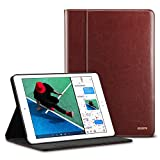 iPad 9.7 2018/2017 Case with Apple Pencil Holder, ESR Premium Leather Business Multi-Functional Folio Stand Cover Hand Strap Organizer Pocket Smart Auto Wake & Sleep Compatible for iPad 9.7,Brown