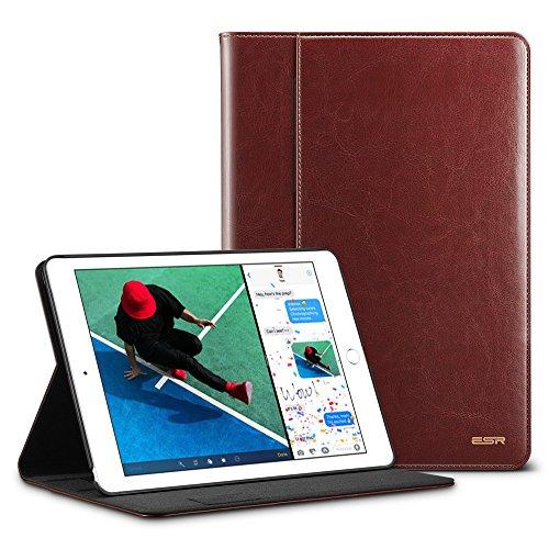 ESR Intelligent Premium Business Case for iPad 9.7 2018/2017, Apple Pencil Holder, Folio Stand Cover Hand Strap Organizer Pocket Smart Auto Wake & Sleep for iPad 9.7 5th/6th Gen,Brown