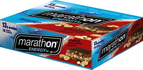 Barra de energía de maratón Chewy Chocolate Peanut, individuales (cuenta 12)