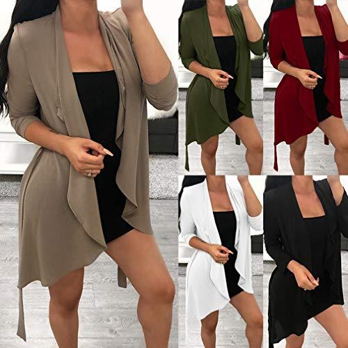 Coprente Donna Verde Con S Giacca Top 2xl Cardigan Cappotto Junkai Manica Casual Orlo Da Irregolare Lunga z70XqxZ