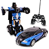 car robot transformer - Blue Inferno RC Toy Transforming Robot Remote Control (27 MHz) Car with One Button Transformation, Realistic Engine Sounds and 360 Speed Drifting 1:14 Scale (Blue)