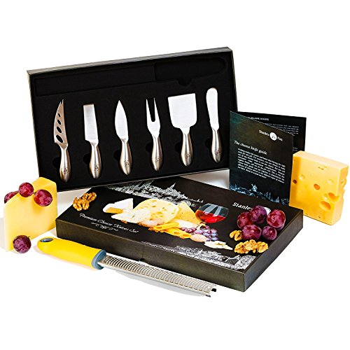 Premium 7-Piece Cheese Knife Set - Cheese Grater&Zester Included - Complete Stainless Steel Cheese Knives Set Tools - Packaged in a Gift Box by Stanley Fox (Best Cheese Knife Set)